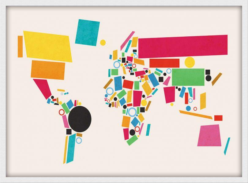 Medium World Map Abstract  (Wood Frame - White)