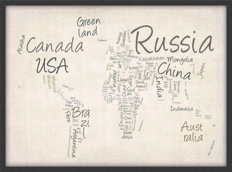 Medium Writing Text Map of the World (Wood Frame - Black)