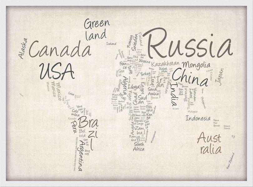 Medium Writing Text Map of the World (Wood Frame - White)