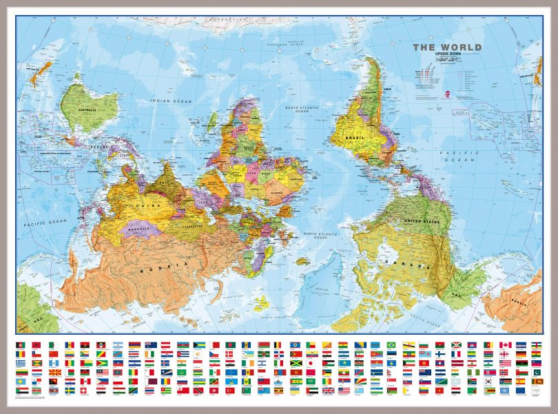 Huge Upside-down World Wall Map Political with flags  (Pinboard & framed - Silver)