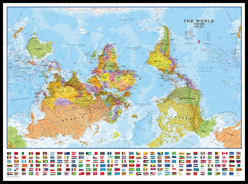 Huge Upside-down World Wall Map Political with flags  (Pinboard & framed - Black)