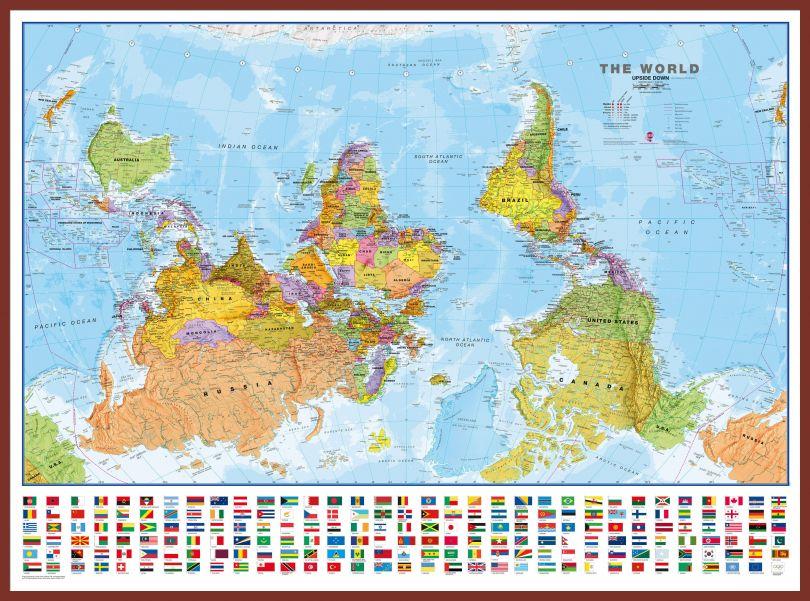 Huge Upside-down World Wall Map Political with flags  (Pinboard & framed - Dark Oak)