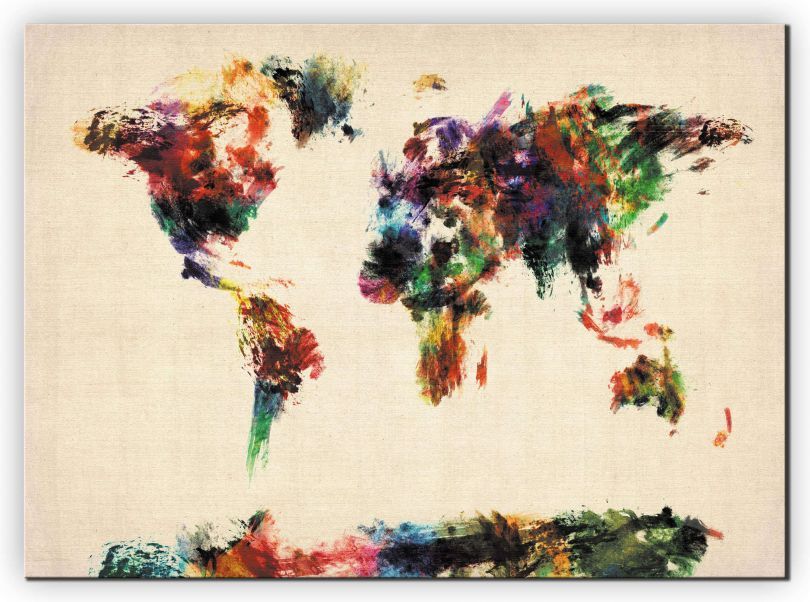 Huge Abstract Painting Map of the World  (Canvas)