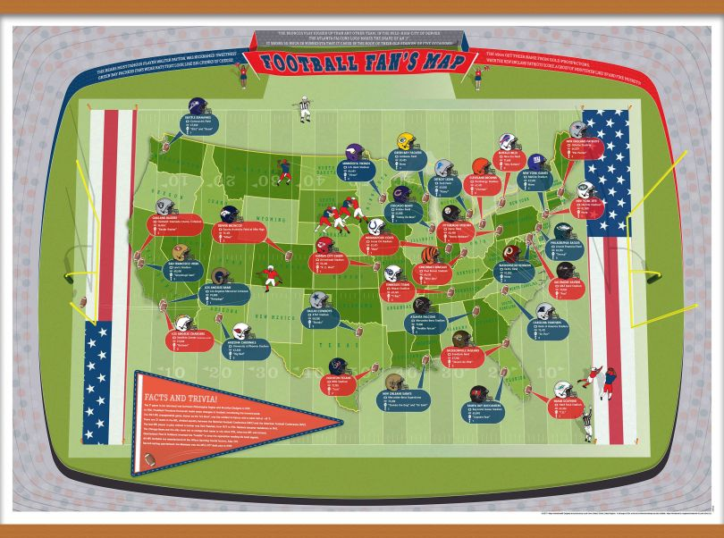 Large American Football Stadiums Map (Wooden hanging bars)