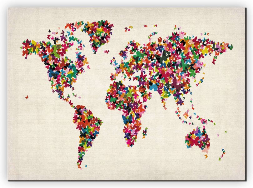 Extra Small Butterflies Map of the World (Canvas)
