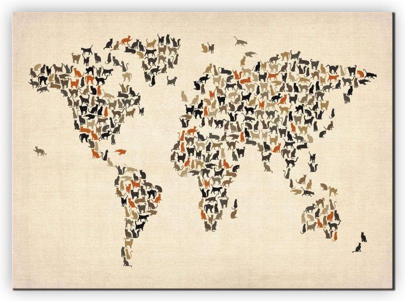 Medium Cats Map of the World (Canvas)