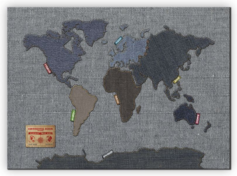 Huge Denim Map of the World (Canvas)