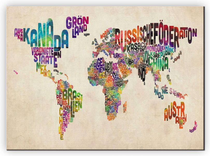 Extra Small German Text Art Map of the World (Canvas)