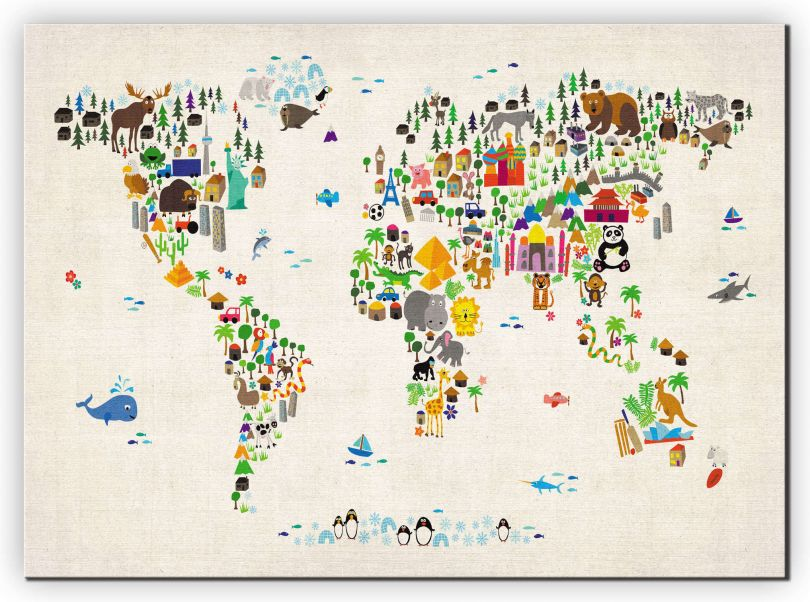 Large Kids Animal Map of the World (Canvas)
