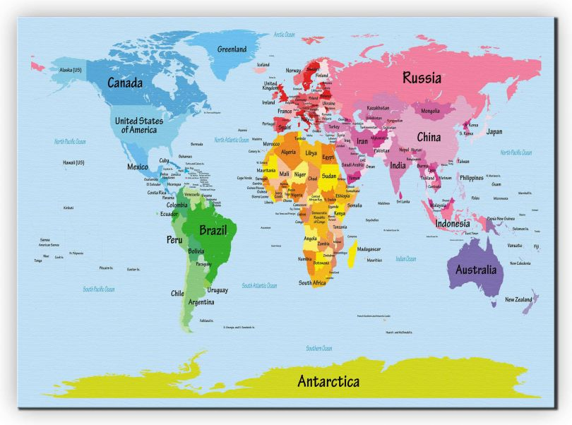 Large Kids Big Text Map of the World (Canvas)