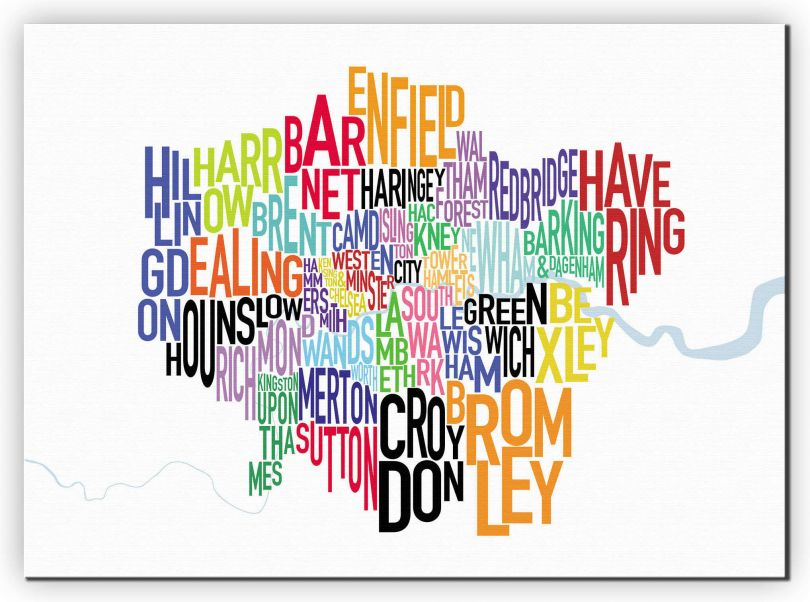 Small London UK Text Map (Canvas)