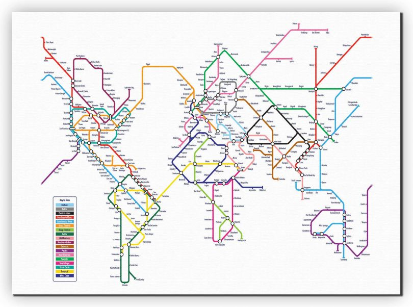 Large Metro Subway Map of the World  (Canvas)