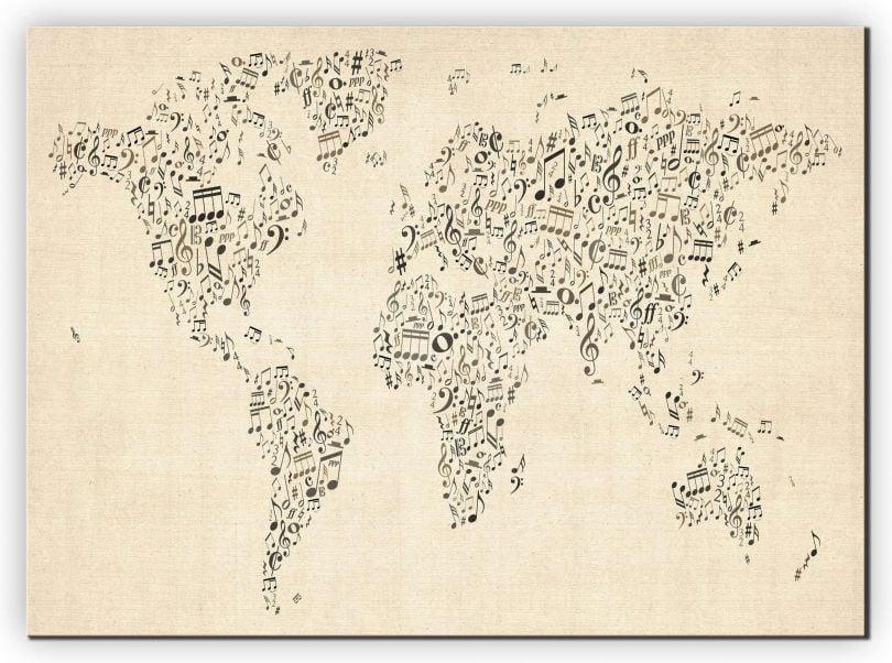 Medium Music Notes World Map of the World (Canvas)
