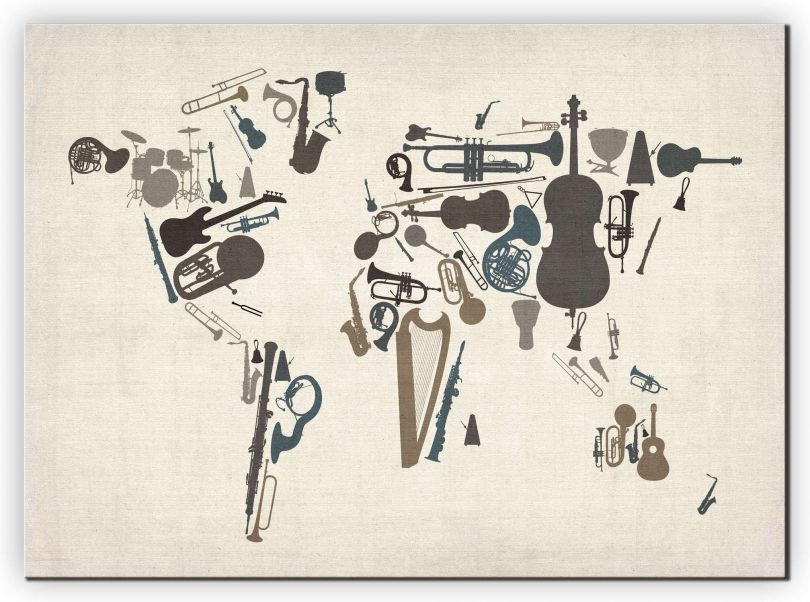 Extra Small Musical Instruments Map of the World  (Canvas)