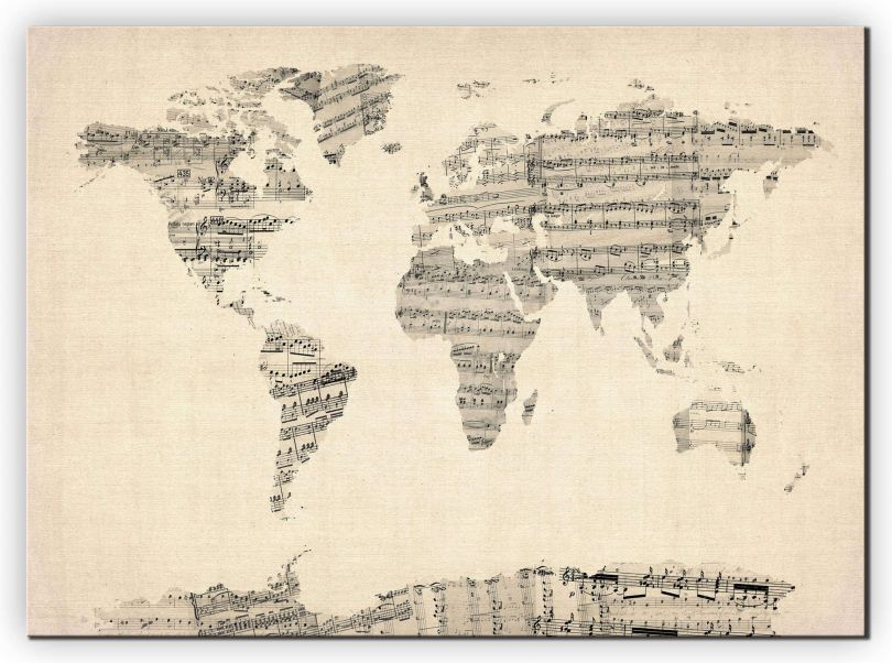 Medium Old Sheet Music Map of the World (Canvas)