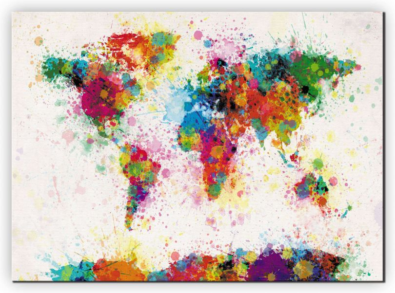 Huge Paint Splashes Map of the World (Canvas)