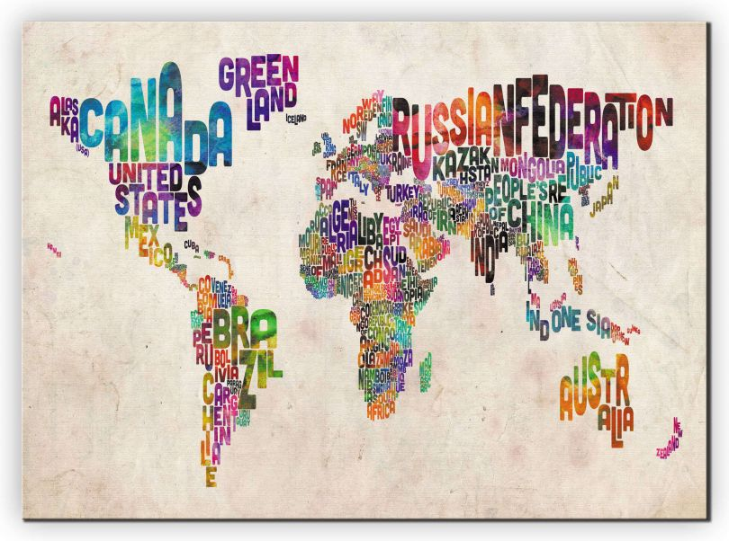 Medium Text Art Map of the World (Canvas)