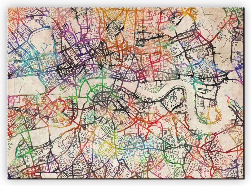 Medium Watercolour Map of London (Canvas)