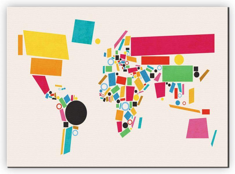 Medium World Map Abstract  (Canvas)