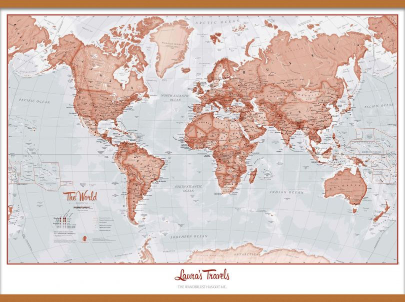 Huge Personalised World Is Art - Wall Map Red (Wooden hanging bars)