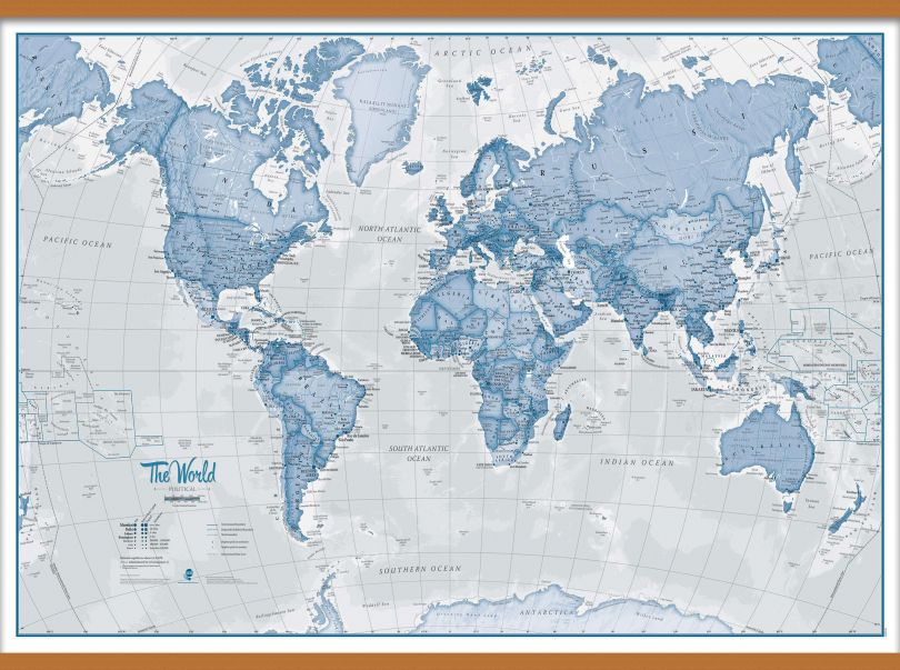 Large The World Is Art - Wall Map Blue (Wooden hanging bars)