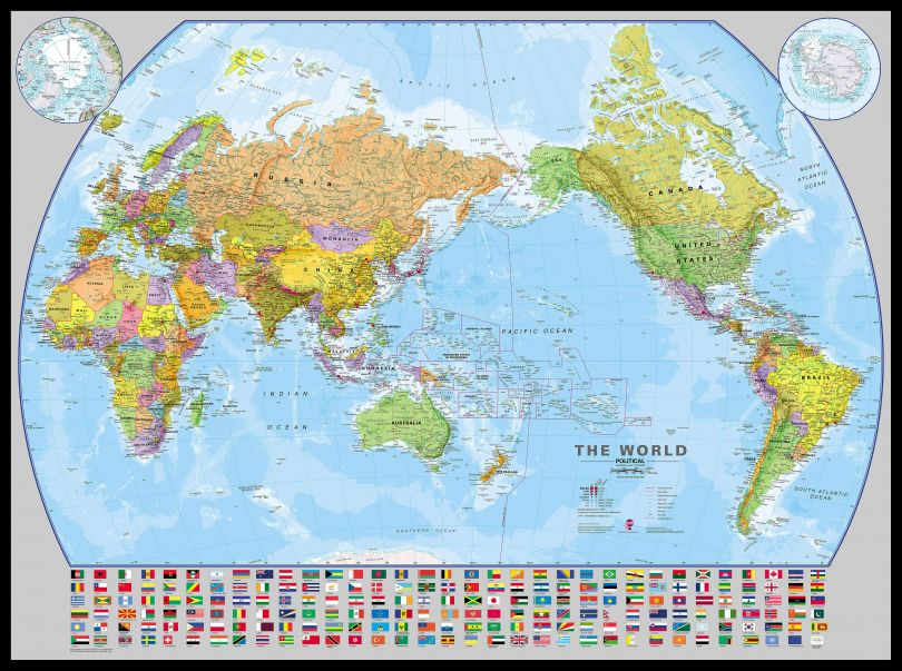 Huge World Pacific-centred Wall Map with flags (Pinboard & framed - Black)