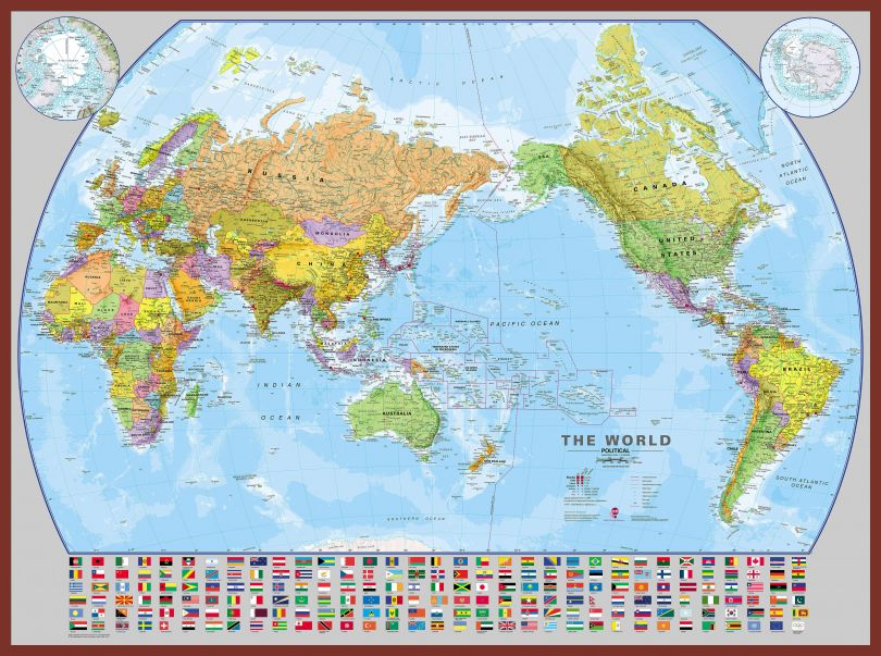 Huge World Pacific-centred Wall Map with flags (Pinboard & framed - Dark Oak)