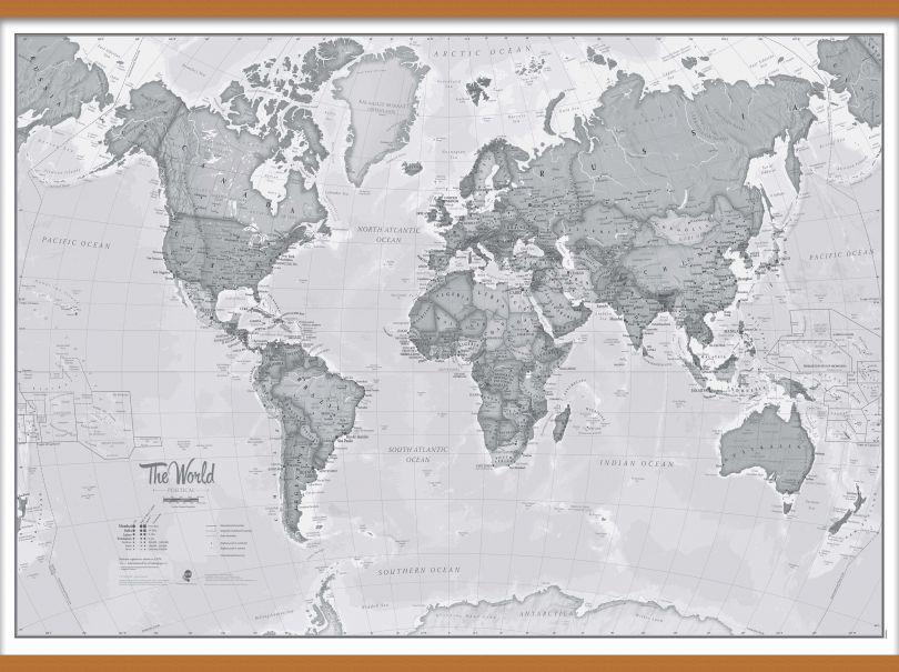 Large The World Is Art - Wall Map Grey (Wooden hanging bars)