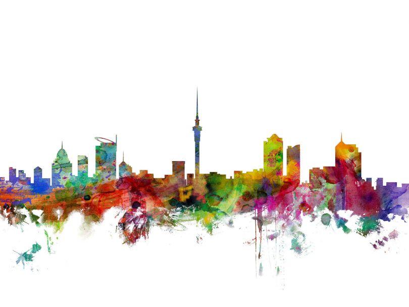 Auckland New Zealand Watercolour Skyline