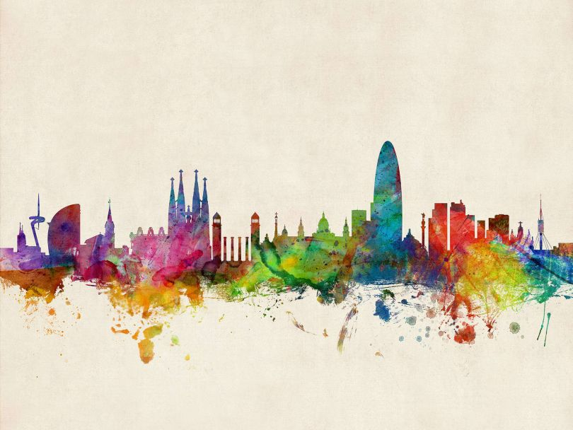 Barcelona Spain Watercolour Skyline