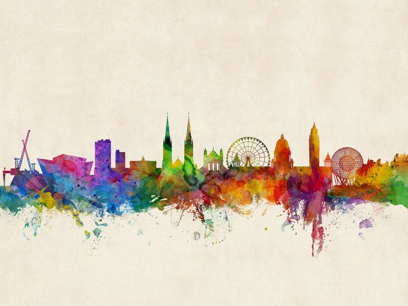 Belfast Northern Ireland Watercolour Skyline