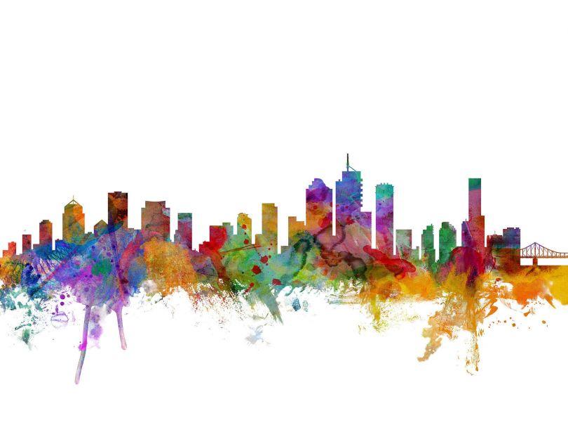 Brisbane Australia Watercolour Skyline