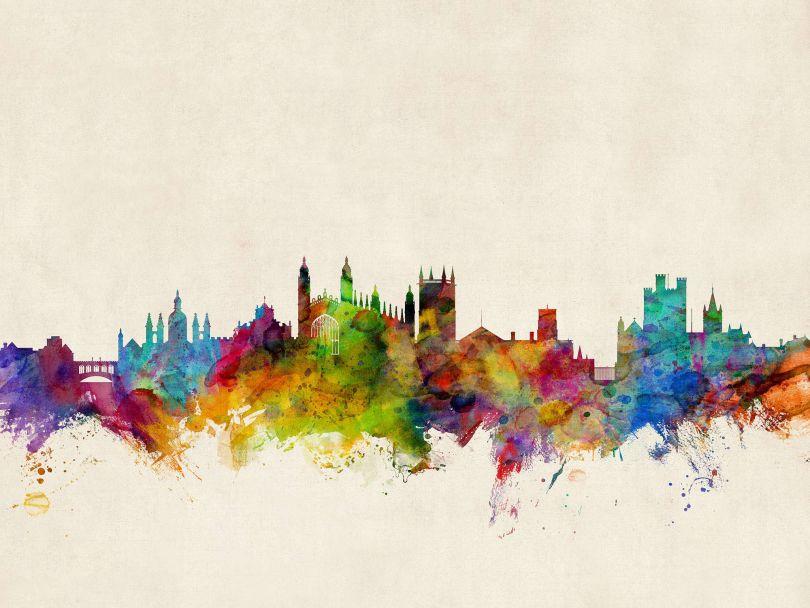 Cambridge England Watercolour Skyline
