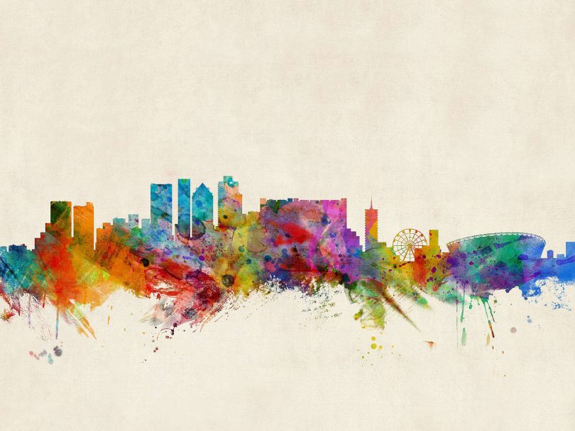 Cape Town South Africa Watercolour Skyline