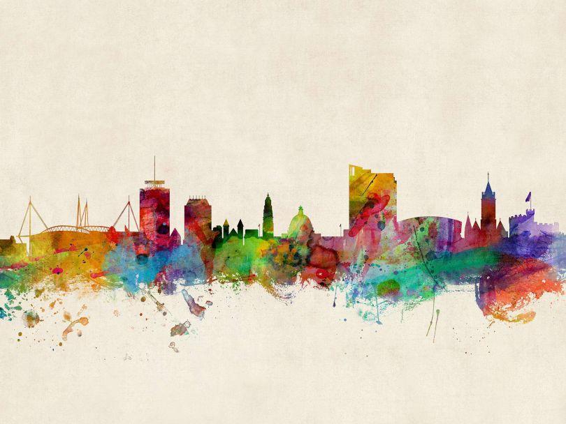 Cardiff Wales Watercolour Skyline