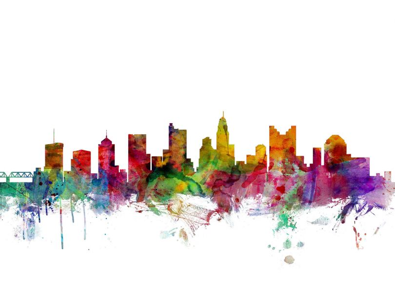 Columbus Ohio Watercolour Skyline