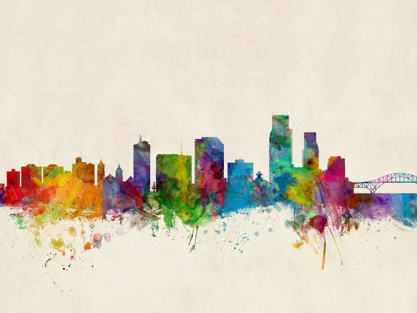 Corpus Christie Texas Watercolour Skyline