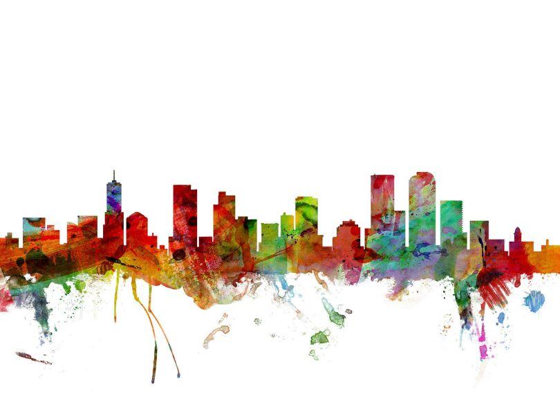 Denver Watercolour Skyline