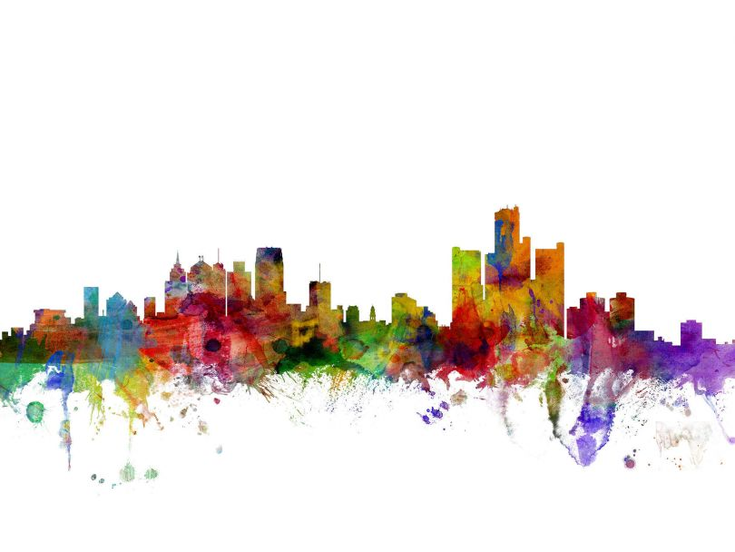 Small Detroit Watercolour Skyline (Rolled Canvas - No Frame)