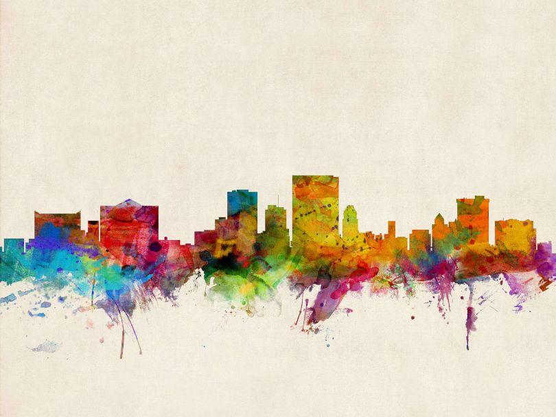 El Paso Texas Watercolour Skyline
