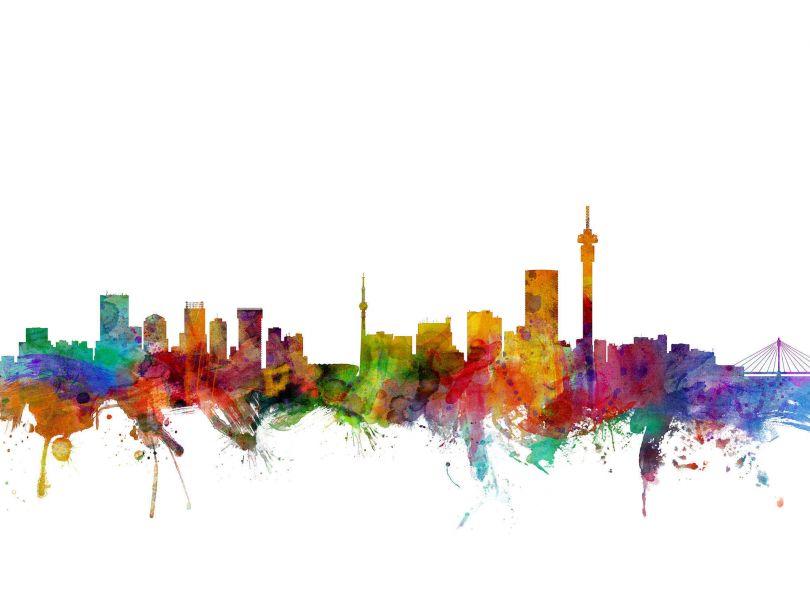 Johannesburg South Africa Watercolour Skyline