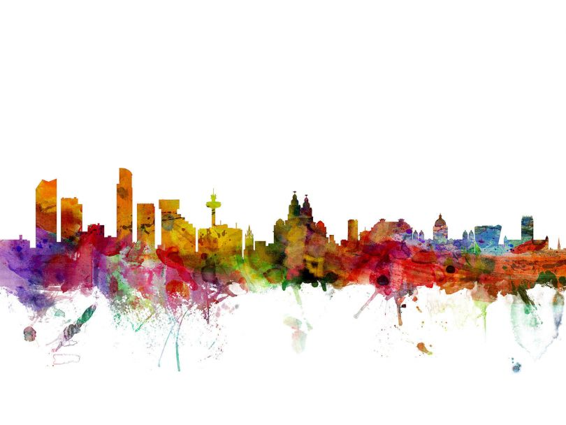 Liverpool England Watercolour Skyline
