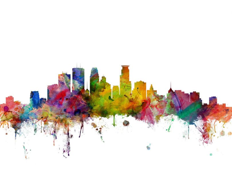 Large Minneapolis Watercolour Skyline (Rolled Canvas - No Frame)