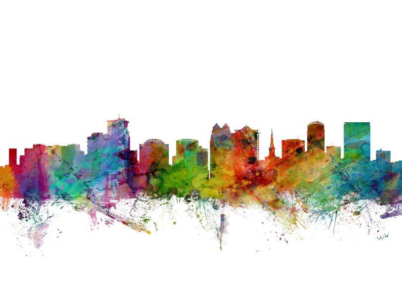 Medium Orlando Florida Watercolour Skyline (Rolled Canvas - No Frame)