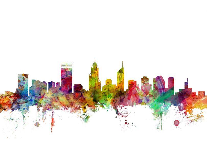 Perth Australia Watercolour Skyline
