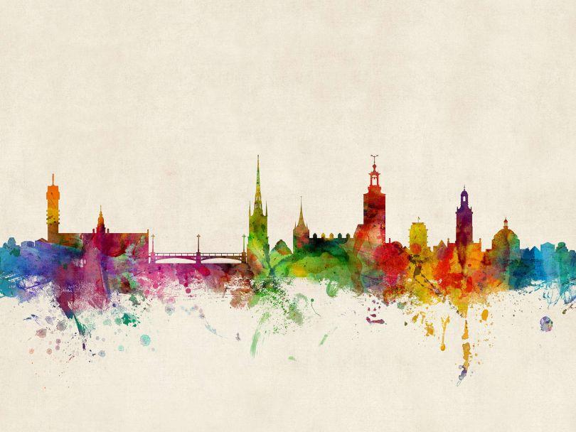 Stockholm Sweden Watercolour Skyline