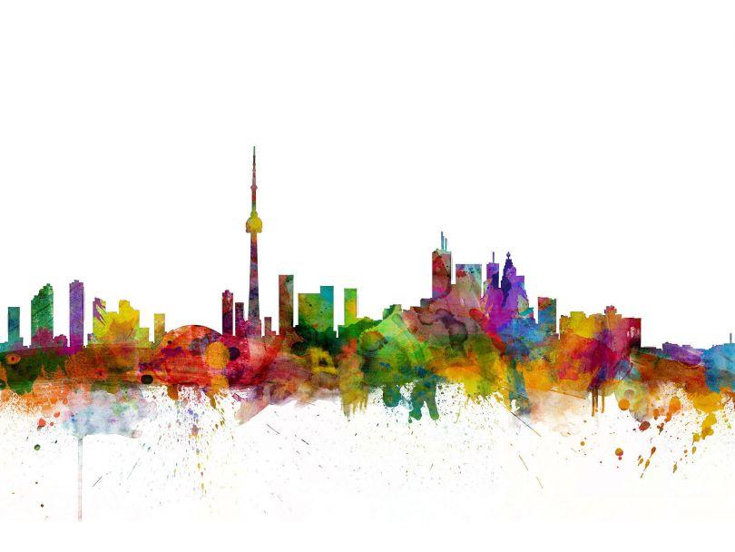 Toronto Canada Watercolour Skyline