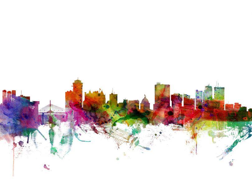 Winnipeg Canada Watercolour Skyline