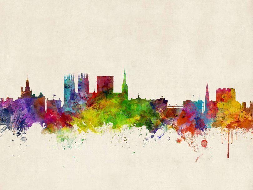 York England Watercolour Skyline