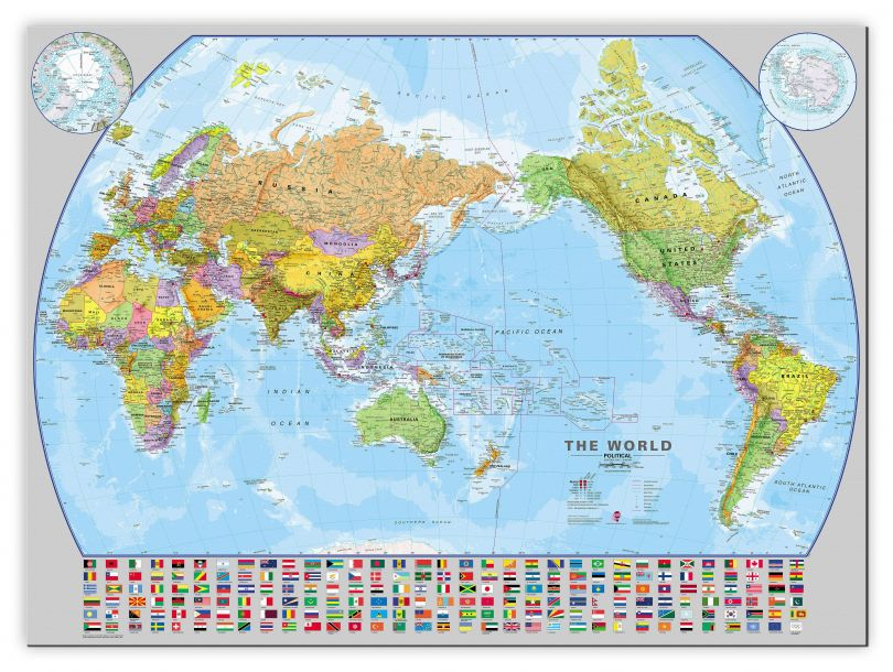 Large World Pacific-centred Wall Map with flags (Canvas)